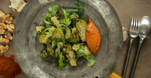 Charred Brussels Sprouts with Walnut Romesco and Lemon