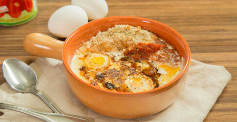 Baked Eggs with Cream & Slow Braised Spiced Tomato Sauce