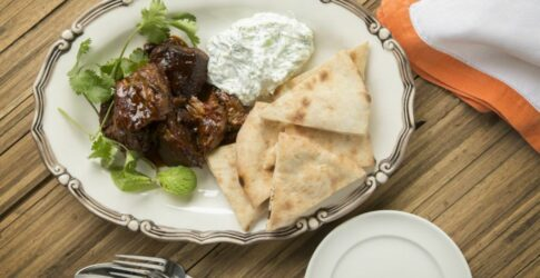 Moroccan Braised Lamb Shoulder With Tzatziki And Naan