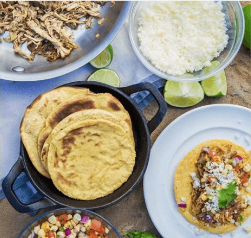 Pork Carnitas with Roasted Corn Salsa & Homemade Corn Tortillas