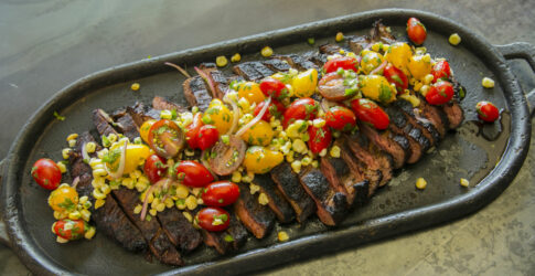 Dry Rubbed Steak with Wood Roasted Corn Salsa