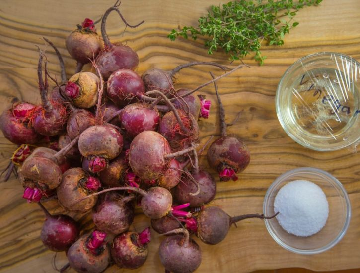 Slow Roasted Beets and Toasted Bread Salad ingredients