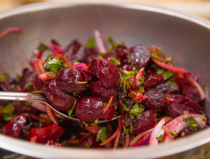 Slow Roasted Beets and Toasted Bread Salad prep