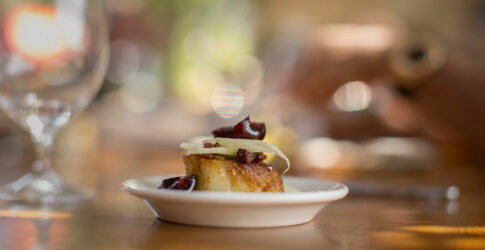 Caramelized Scallops, Cherries and Fennel with Summer Savory and Pancetta Vinaigrette