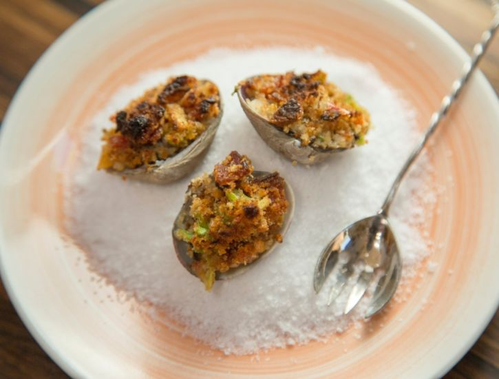 Clams Casino with Bacon, Breadcrumbs, Scallions and Calabrian Chili