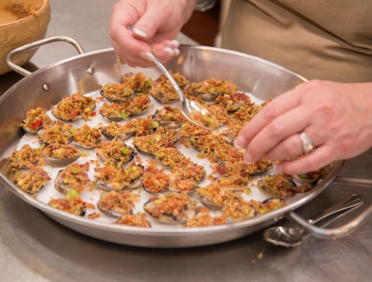 Clams Casino with Bacon, Breadcrumbs, Scallions and Calabrian Chili prep