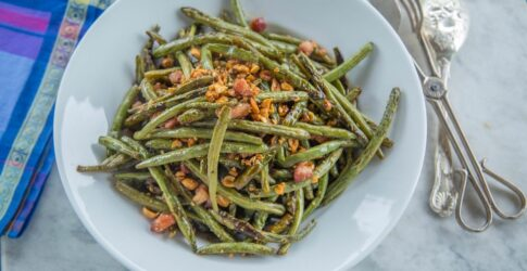 Roasted Green Beans and Pancetta with Sherry Vinegar and Toasted Peanuts