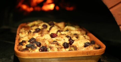 Limoncello Bread Pudding with Fresh Blackberries