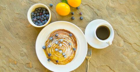 Wood Fired Lemon Ricotta Pancakes with Lemon Curd and Fresh Berries