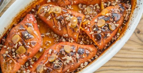 Roasted Garnet Yams Glazed with Brown Sugar and Orange with a Ginger, Pecan Topping
