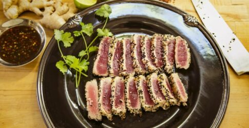 Pan-Seared Sesame Crusted Ahi with Soy Ginger Lime Sauce