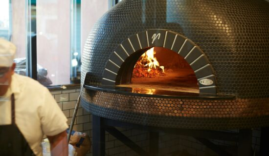Wood fired oven with tile