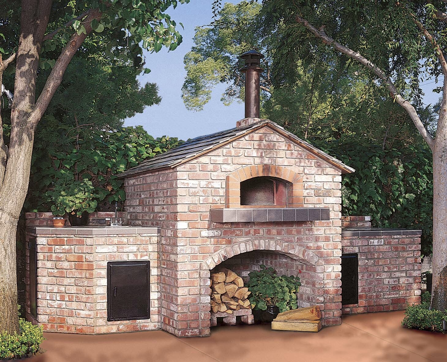 Mugnaini wood fired oven in an outdoor setting