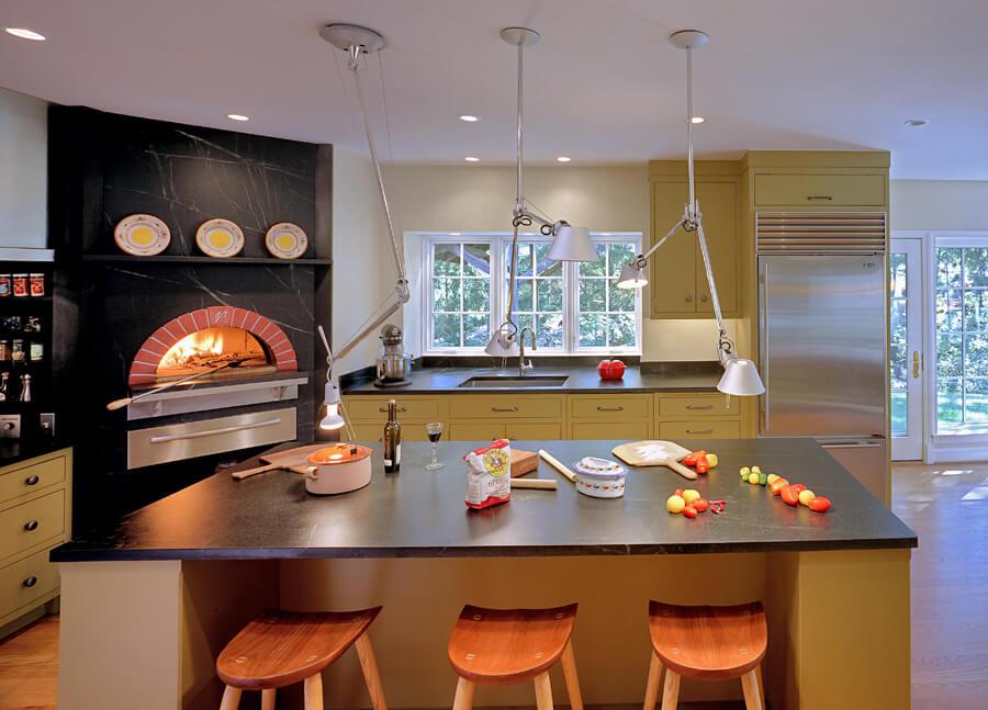 Mugnaini wood fired oven in a contemporary home