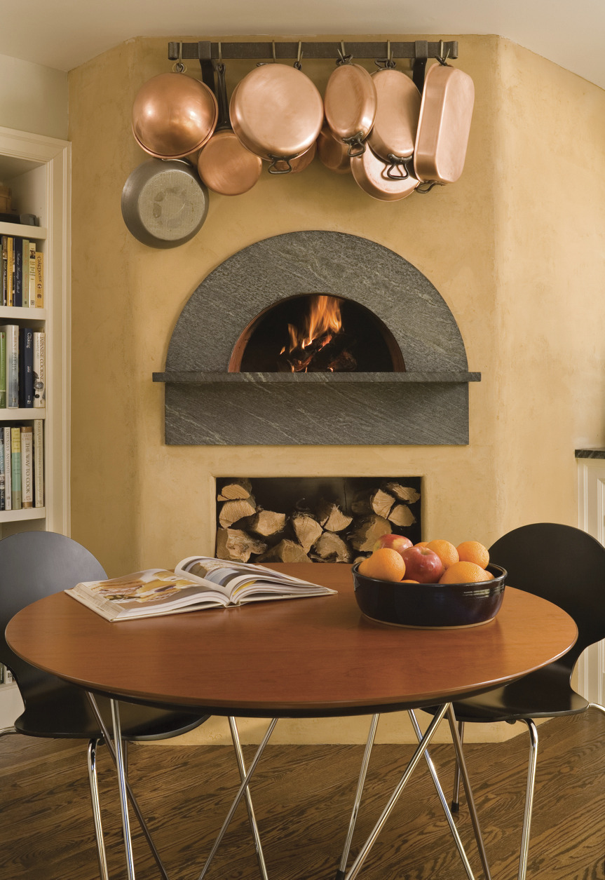 Mugnaini wood fired oven in a residential kitchen